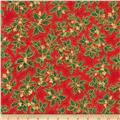 Kaufman Holiday Flourish Metallic Large Leaves Crimson