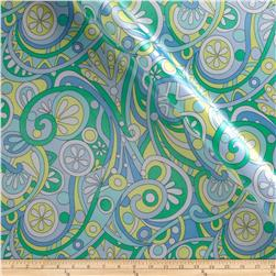 Michael Miller Charmeuse Satin Mod Swirls Aqua Fabric
