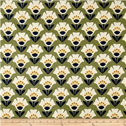 Cloud 9 Organic Holding Pattern Barkcloth Garden Variety Olive