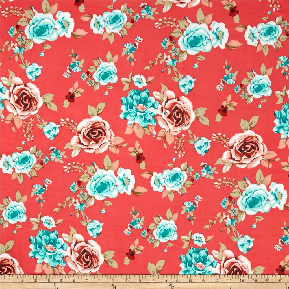 Stretch ITY Turquoise/Coral Roses on Coral