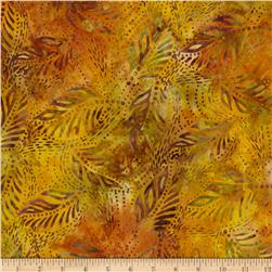 Timeless Treasures Tonga Batik Woven Leaves Amber