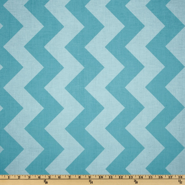 Riley Blake Chevron Large Tonal Aqua Fabric