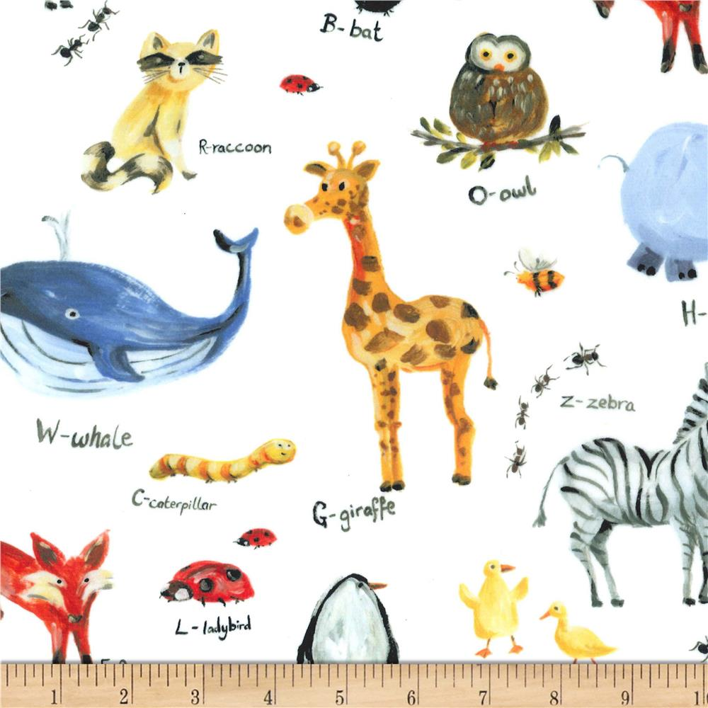 Michael Miller Minky Animal Alphabet White