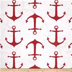 Premier Prints Anchors Slub Carmine Red