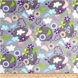 Minky Cuddle Fly Away Butterflies Silver