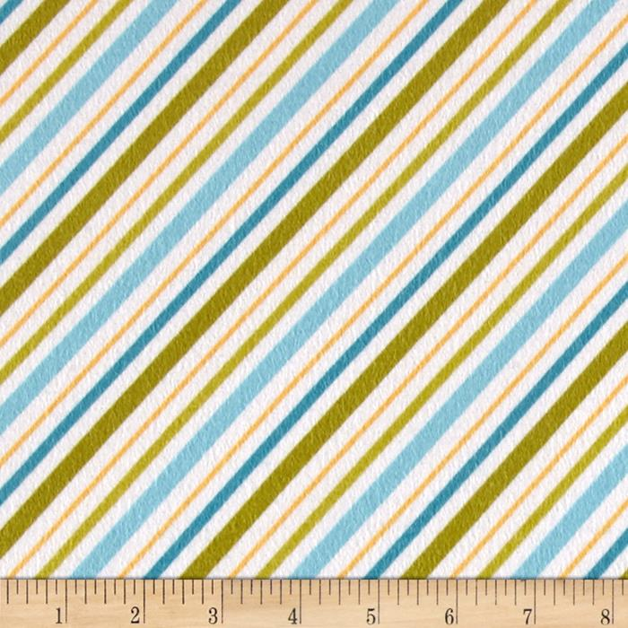 Riley Blake Happy Camper Flannel Stripe Blue Fabric By The Yard