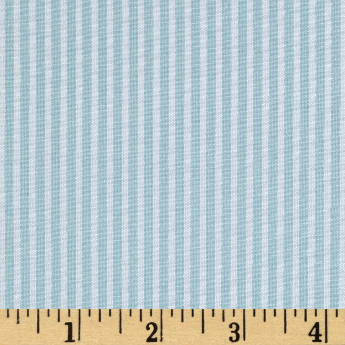 Yarn-Dyed Seerscker Stripe Mint Blue/White Fabric