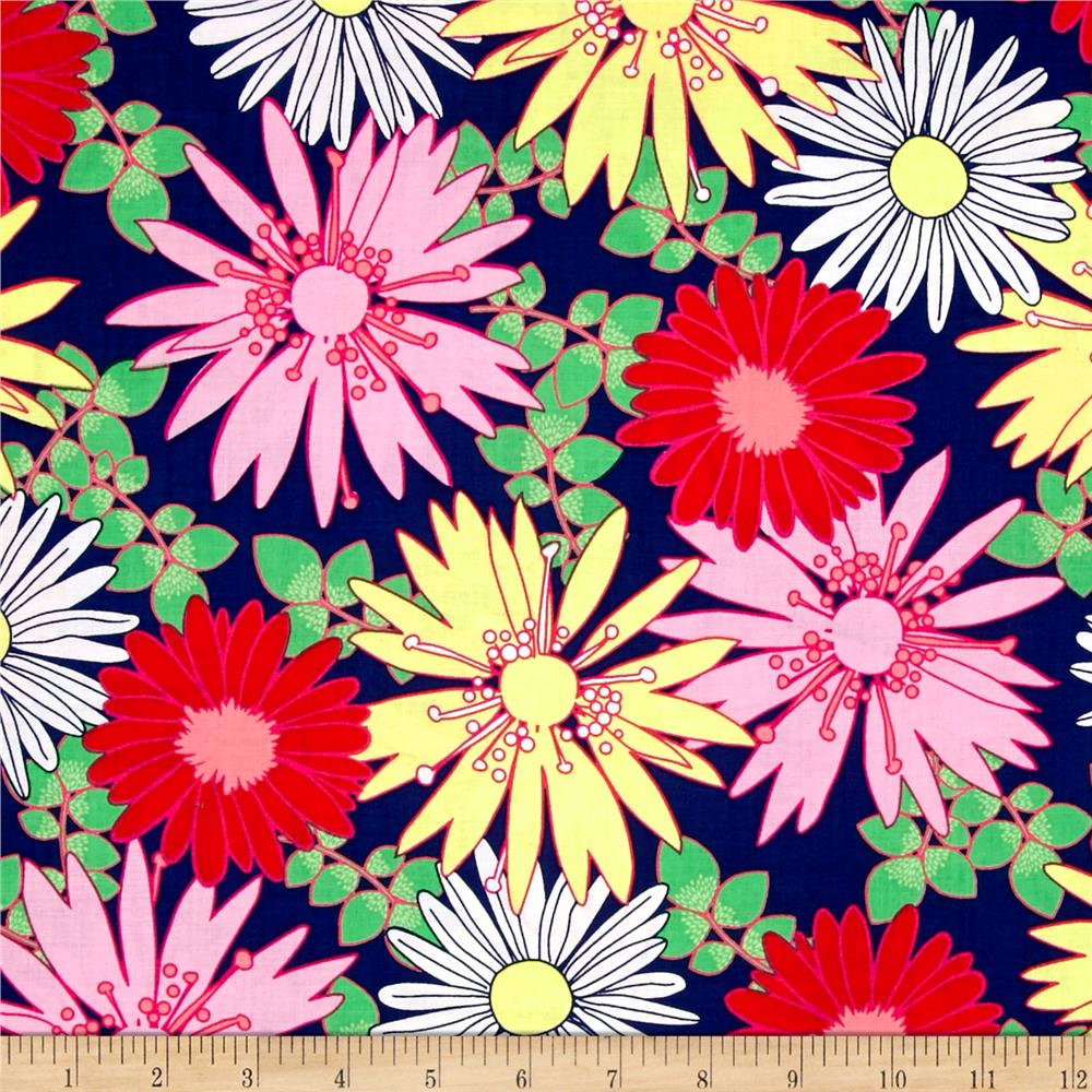 Bahama Breeze Sunshine Daisy Navy Fabric By The Yard