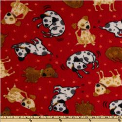 Fleece Playful Puppies Red