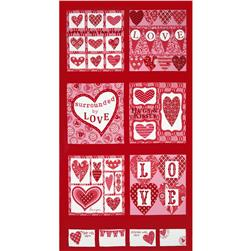 Moda Surrounded By Love Panel Candy Heart Red