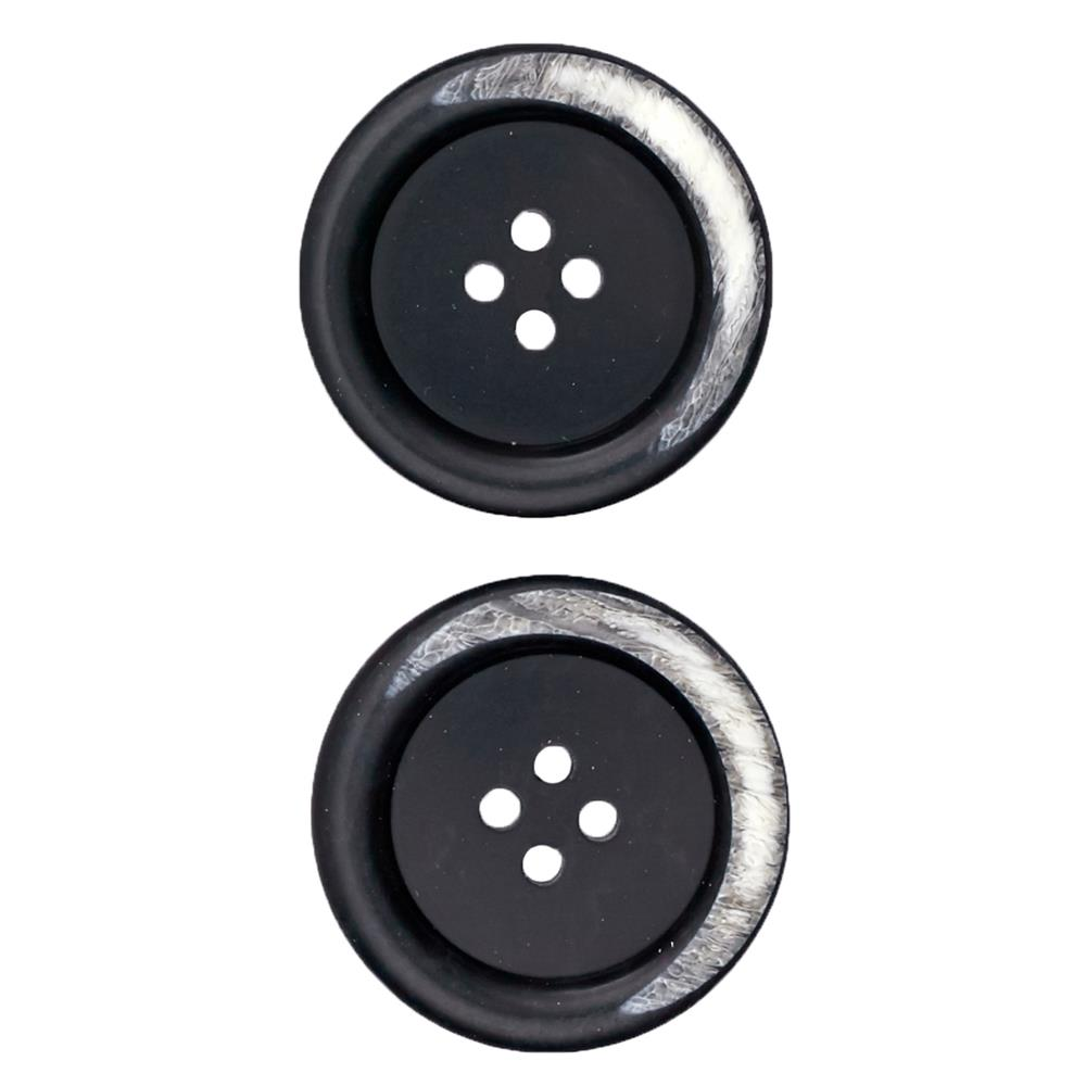 "Fashion Button 1 1/8"" Kotka Black"