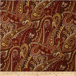 Duralee Pacific Fish Paisley Rouge Fabric