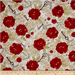 My Secret Garden Floral Key Blue/Red
