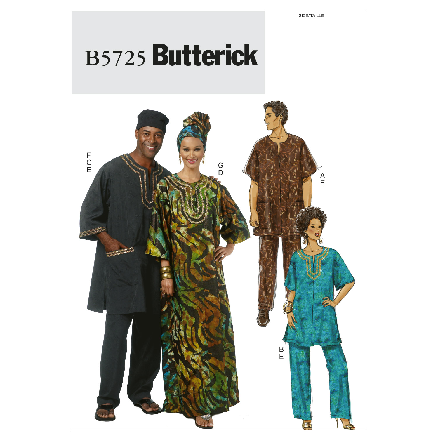 Image of Butterick Misses'/Men's Tunic Caftan Pants Hat and Head Wrap Pattern B5725 Size XM0