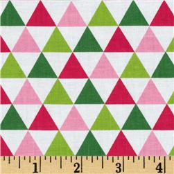 Remix Triangles Garden White Fabric