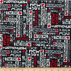 The Big Apple City Slang Black/Red Fabric