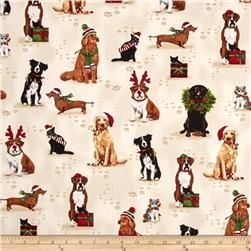 Robert Kaufman Holly Jolly Christmas Holiday Dogs & Cats Ivory