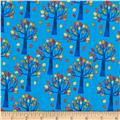 Timeless Treasures Nutty Buddies Autumn Trees Blue