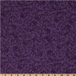 "Baroque 108"" Wide Quilt Backing Flourish Purple"