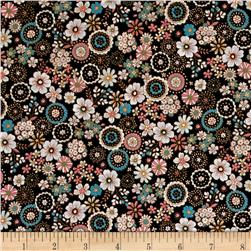 Cosmo Garden Delight Outlined Flowers Lawn Black