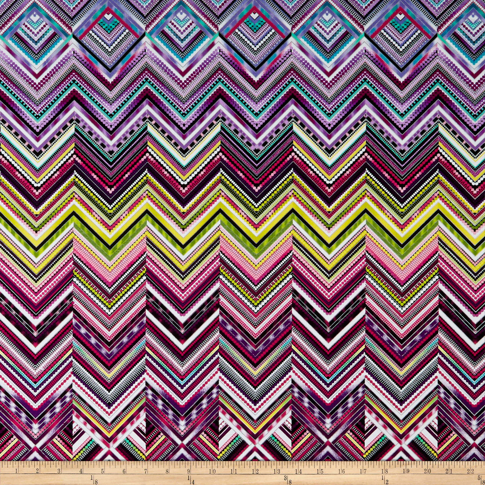 Modern Movement Chevron Geo Metallic Purple/Multi Fabric