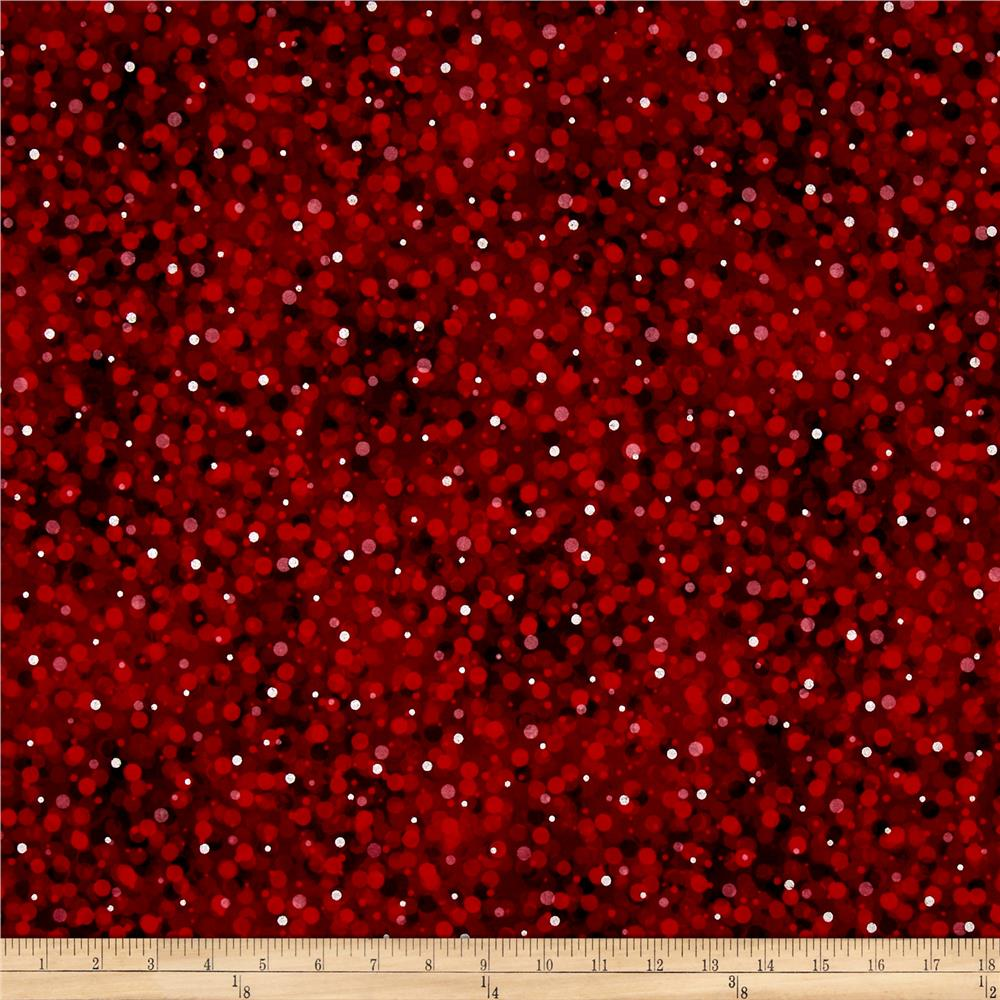 Kaufman Winter's Grandeur 4 Metallics Muted Dots Cranberry
