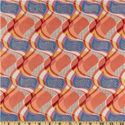 Jonquil Shirting Abstract Swirl Salmon/Blue