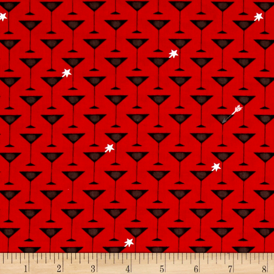 Ink & Arrow It's All About Me Martini Glasses Red Fabric by Quilting Treasures in USA