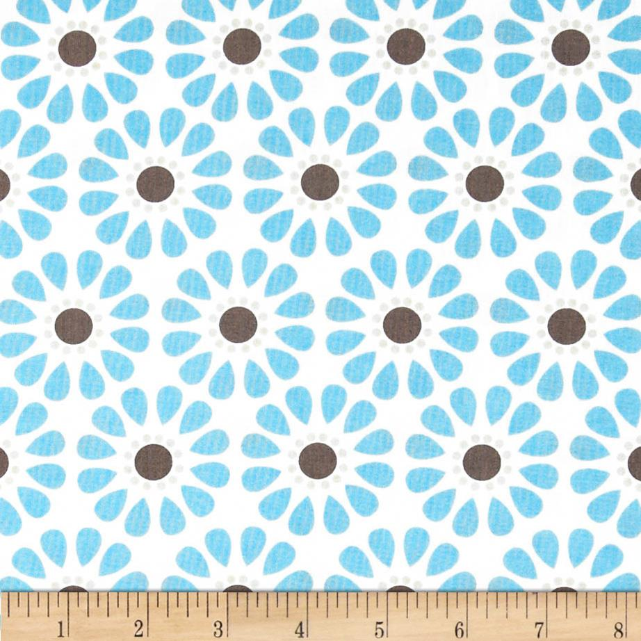 Bright Now Daisy Aqua Fabric By The Yard