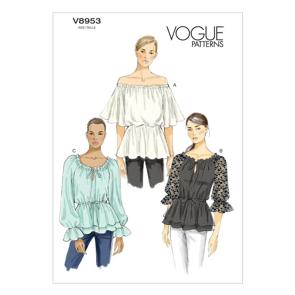 Vogue Misses' Top Pattern V8953 Size A50