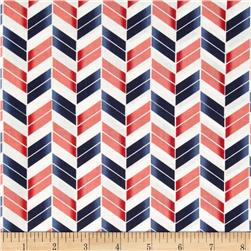 French Navy Broken Chevron Navy/Coral Fabric