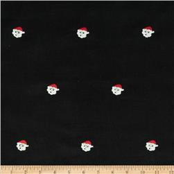 Embroidered 21 Wale Corduroy Santa Black/White