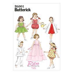 "Butterick Clothes for 18"" (46cm) Doll Pattern B6001 Size OSZ"