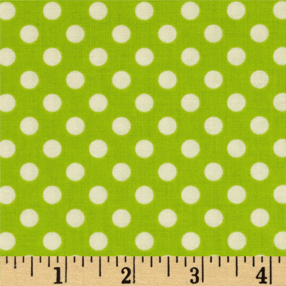 Riley Blake Le Creme Basics Small Dots Lime/Cream