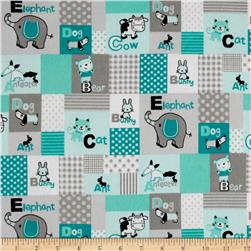 Patchwork Flannel Animals Green Grey
