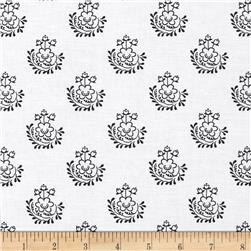 Dear Stella Small Flowers White/Black Fabric