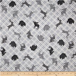 Comfy Flannel Animal Silhouette Plaid Grey