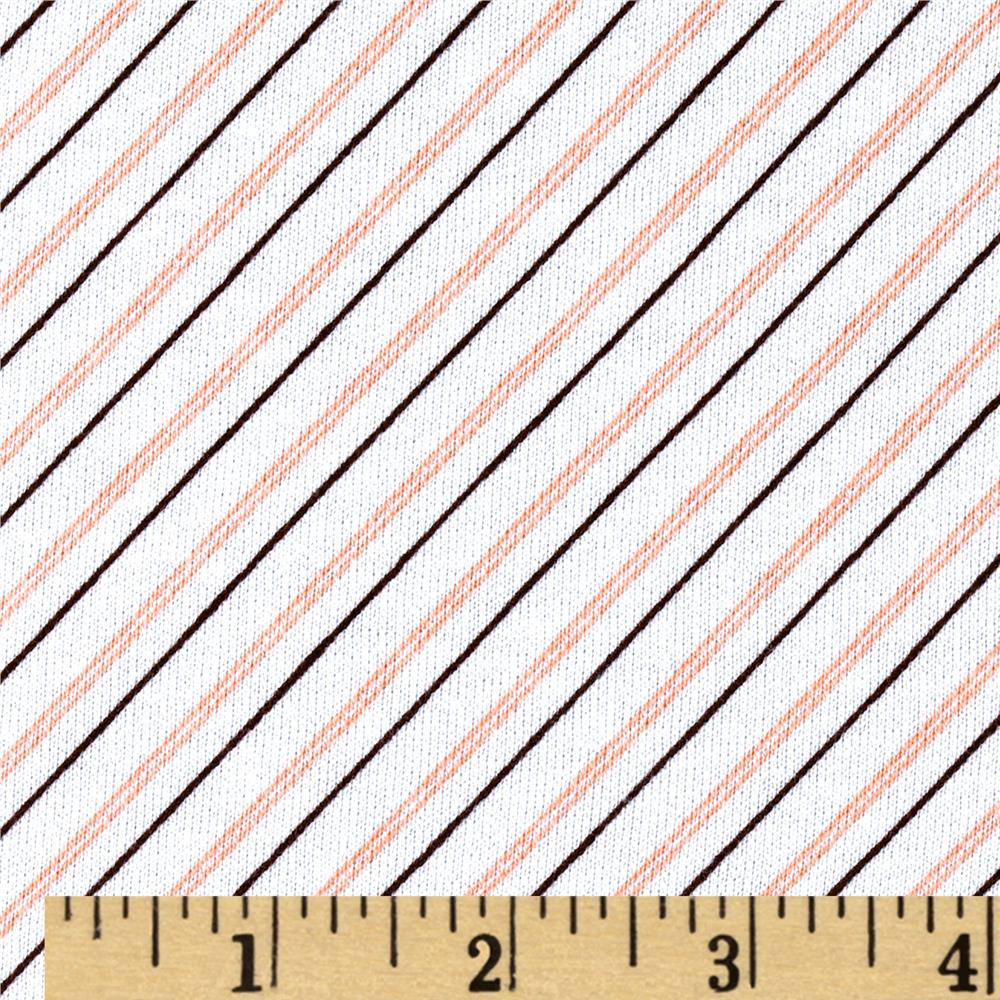 French Terry Diagonal Stripe White/Peach/Brown