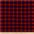 Fleece Print Houndstooth Red