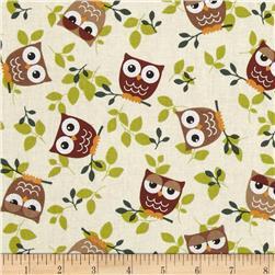 Tossed Owls Khaki/Chocolate/Sage