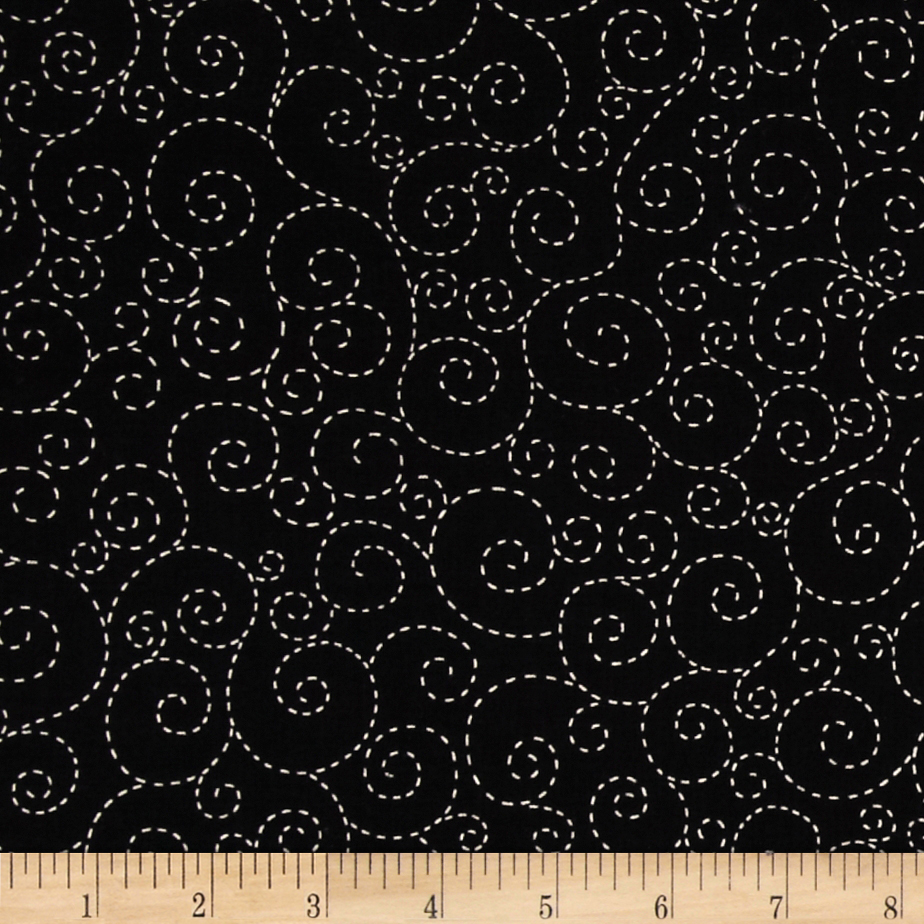 Timeless Treasures Stitch Scroll Black Fabric