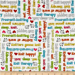 Knit Happy Knit Phrases White/Multi