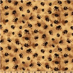 Timeless Treasures Paw Print Tan