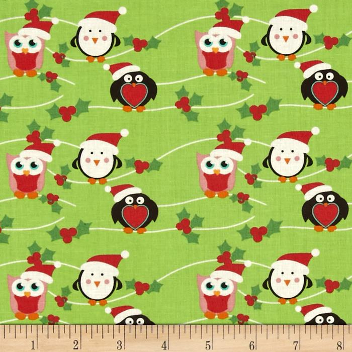 Fabric Freedom Christmas Character Owls & Penguins Green