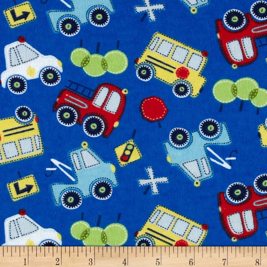 Flannel Tossed Cars Royal Blue Fabric