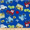 Flannel Tossed Cars Royal Blue