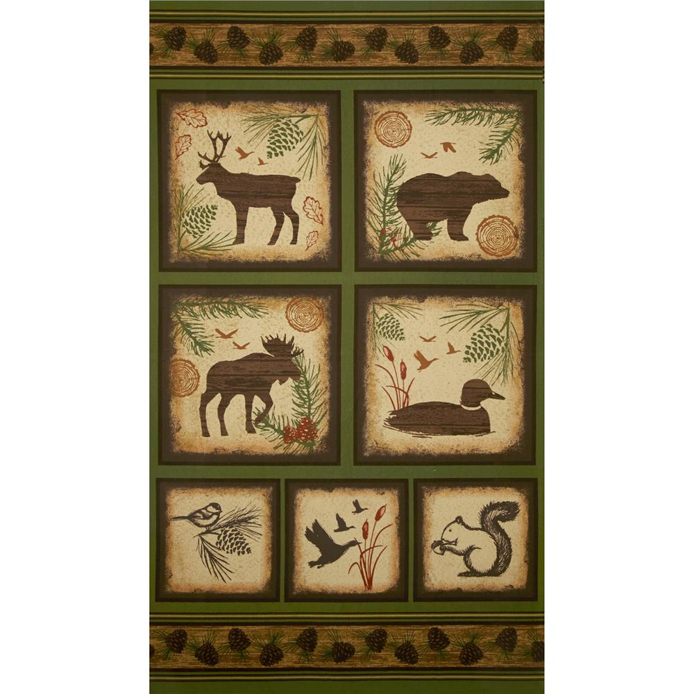 Timber Lodge Flannel Animal Block Panel Green