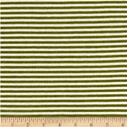 Jersey Knit Green Stripe on Ivory