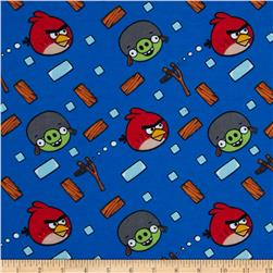 Angry Birds Flannel Bounce Blue Fabric