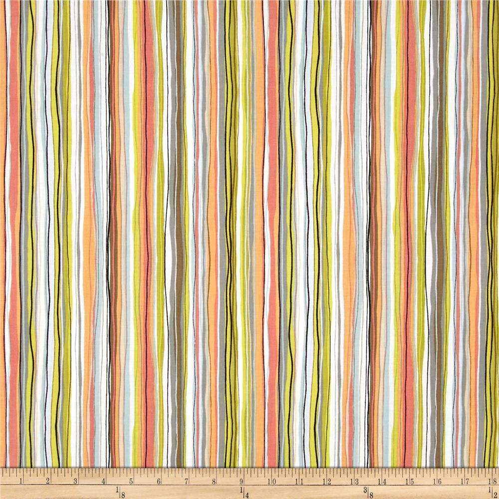 Contempo Dwellings Wavy Pencil Stripe Black/Salmon